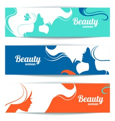 Banners with stylish beautiful woman silhouette vector image