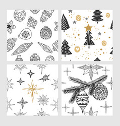 Beautiful seamless christmas and winter patterns vector