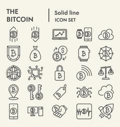bitcoin line icon set crypto symbols collection vector image