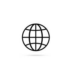 black and white earth with shadow on white vector image