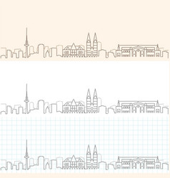 bremen hand drawn profile skyline vector image