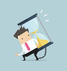 businessman carrying huge sand hourglass vector image