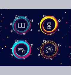 buy button shipping support and book icons gift vector image
