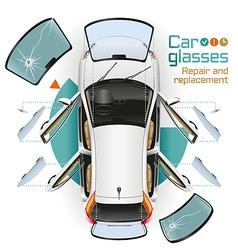 Car glasses repair and replacement vector