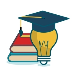 cartoon books and bulb school graphic vector image