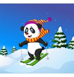Cartoon panda skiing down a mountain slope vector