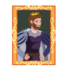 cartoon portrait of king in golden frame vector image