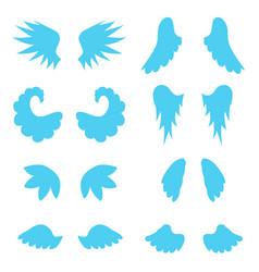 cartoon silhouette blue angel wings set vector image