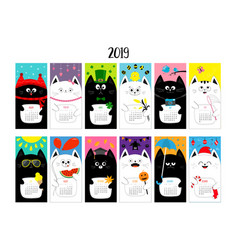 cat horizontal monthly calendar 2019 cute funny vector image