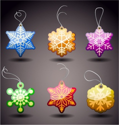 Christmas glossy tags snowflakes vector