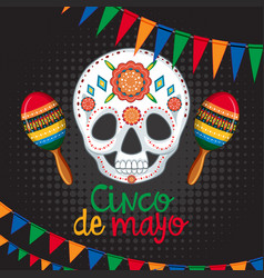 Cinco de mayo card template with mask and maracas vector