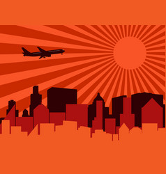 City aeroplane and sun vector