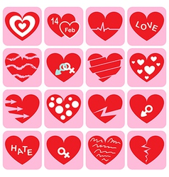 Collection of heart icon vector image