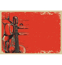 country music poster with cowboy hat and guitar vector image
