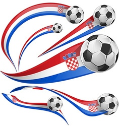 croatia flag set with soccer ball vector image