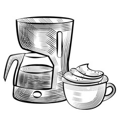 cup with coffee and machine for brewing drink vector image