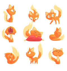Cute cartoon red kitten character in different vector