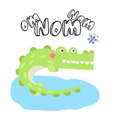 cute crocodile print with butterfly and lettering vector image