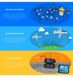 Drones Banners Set vector