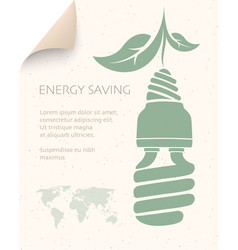 energy saving concept poster saving light bulb vector image