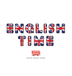 english time language online school banner great vector image