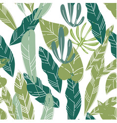 exotic foliage and leaves plants and flowers vector image