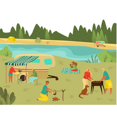 family bbq picnic on summer vacation barbecue vector image
