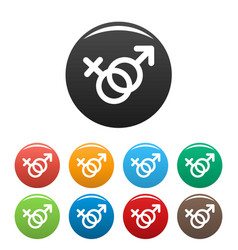 female and man gender symbol icons set vector image
