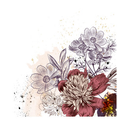 Floral with peony and cosmos flowers vector
