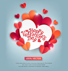For valentines day hearts carved vector