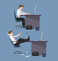funny set of managers in office vector image