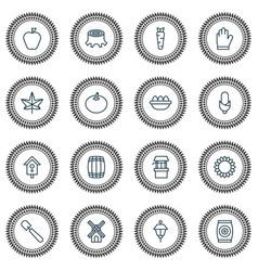 Gardening icons set with leaf apple tomato and vector