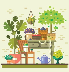 Gathering vegetables and fruits vector