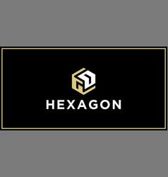 Gd hexagon logo design inspiration vector