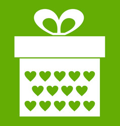 gift box with ribbon bow icon green vector image