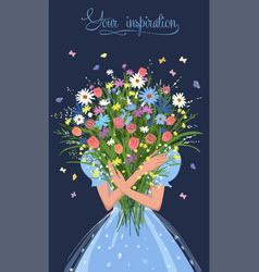 Girl with a bouquet flowers in her hands vector