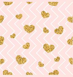 Gold heart seamless pattern pink-white geometric vector