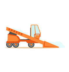 Grader orange machine on six wheels part of vector