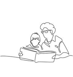 Grandmother with grandson reading book vector