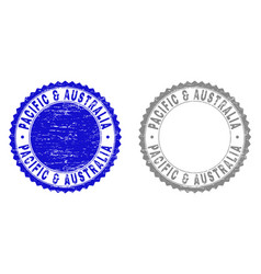 Grunge pacific australia textured stamps vector