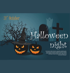 halloween pumpkin on night cemetery background vector image
