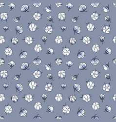 hand drawn cotton plant seamless pattern on blue vector image