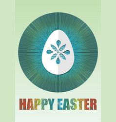 Happy easter poster with white paper cuted egg on vector