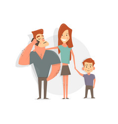 happy family father mother and son funny and vector image