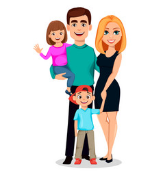 happy family father mother son and daughter vector image