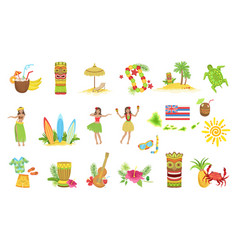 hawaiian vacation set classic symbols vector image