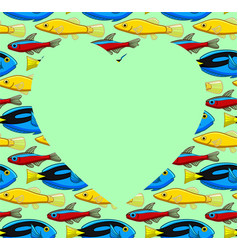 Heart copy space on fish pattern green background vector