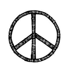 Hippie symbol made brush strokes vector