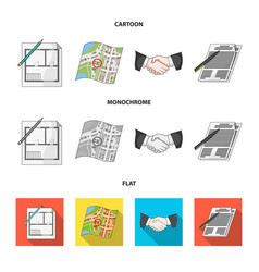 house plan documents for signing handshake vector image