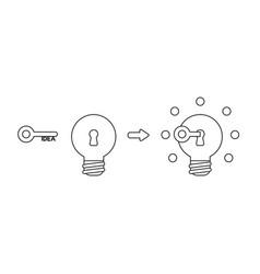 icon concept idea key into light bulb keyhole vector image